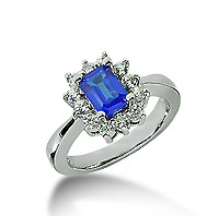 14k White Gold Emerald 6x4 Blue Sapphire and 1/3 Carat Diamond Lady Di - Princess Diana Style Ring