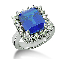 14k White Gold Emerald 12x10 Blue Sapphire and 1 Carat Diamond Lady Di - Princess Diana Style Ring