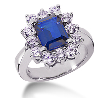 14k White Gold Emerald 12x10 Blue Sapphire and 1 3/5 Carat Diamond Lady Di - Princess Diana Style Ring