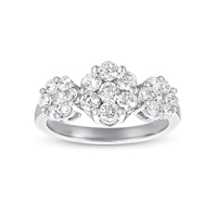 14kt White Gold 3/4 Carat Three Stone Diamond Cluster Ring