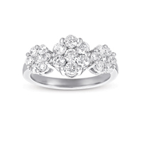 14kt White Gold 1 Carat Three Stone Diamond Cluster Ring