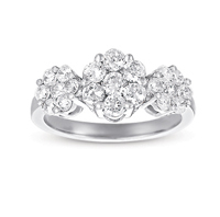 14kt White Gold 1 1/2 Carat Three Stone Diamond Cluster Ring
