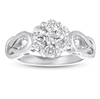 14kt White Gold 1 1/4 Carat Knot Diamond Cluster Ring