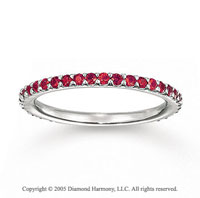 14k White Gold Stylish Prong Round Ruby Stackable Ring