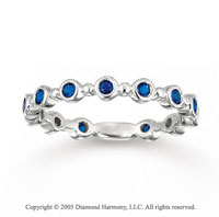 14k White Gold 1/2 Carat Blue Sapphire Stackable Ring