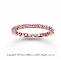 14k Rose Gold Round Prong Pink Sapphire Stackable Ring