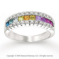 14k White Gold Rainbow Gemstone 1/6 Carat Diamond Ring