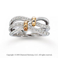 14k Two Tone Gold 1/5 Carat Diamond Right Hand Ring