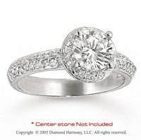 14k White Gold Side Stone Prong Diamond Engagement Ring