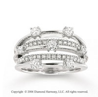 14k White Gold Balanced .75 Carat Diamond Right Hand Ring