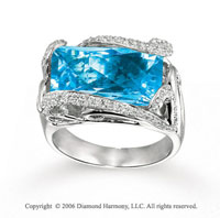 14k White Gold Diamond Baguette Blue Topaz Statement Ring