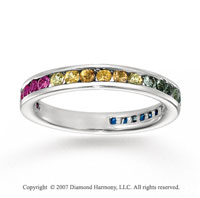14k White Gold Channel Multi Color Stone Stackable Ring