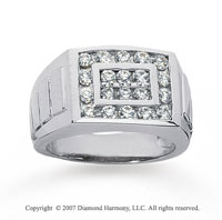 14k White Gold Channel 0.90 Carat Men's Diamond Ring