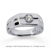 14k White Gold Round Prong 1/4 Carat Men's Diamond Ring