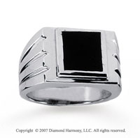 14k White Gold Groove Square Onyx Men's Fashion Ring
