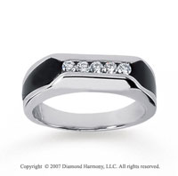 14k White Gold Modern Stylish Onyx 1/4 Carat Men's Diamond Ring