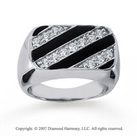 14k White Gold Stripes Onyx 1/2 Carat Men's Diamond Ring