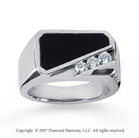 14k White Gold Modern Class 0.30 Carat Men's Diamond Ring