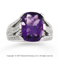 14k White Gold Antique Cushion Amethyst Diamond Ring