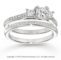 14k White Gold Carat Three Stone Princess Diamond Bridal Set