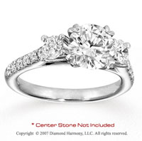 14k White Gold Prong 0.70 Carat Diamond Side Stone Ring