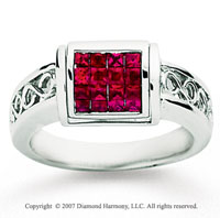 14k White Gold Fiery Ruby 1/2 Carat Black Diamond Ring