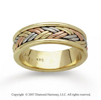 14k Tri Tone Gold Fine Woven Hand Carved Wedding Band