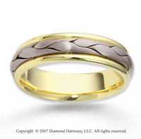 14k Two Tone Gold Abstra Carat Fine Braided Wedding Band