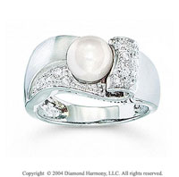 14k White Gold Fabulous Freshwater Pearl Diamond Ring