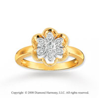 14k Two Tone Gold Simply Sophisticated Flower Diamond Ring