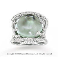 14k White Gold 22 Carat Cabochon Green Amethyst Diamond Ring