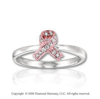 14k Two Tone Gold Diamond Breast Cancer Awareness Ring