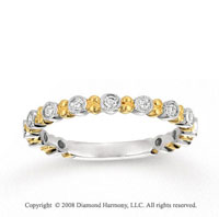 14k Two Tone Gold 1/4 Carat Diamond Stackable Ring