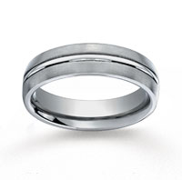 Titanium 6mm Comfort-Fit Satin-Finished Center Concaved Cut Wedding Band