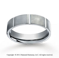 Titanium 6mm Comfort-Fit Satin-Finished Vertical Cuts Wedding Band