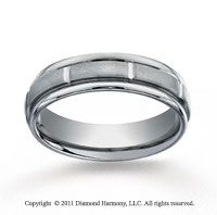 Titanium 6mm Comfort-Fit Satin-Finished Round Edge Sectional Wedding Band