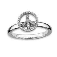Sterling Silver 2.25mm Diamond Peace Sign Stackable Ring