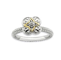 Sterling Silver and 14k Yellow Gold 2.25mm Diamond Stackable Ring