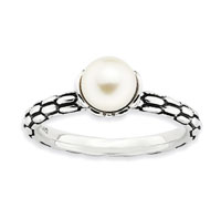Antiqued Sterling Silver 2.5mm White Pearl Stackable Ring