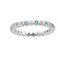 Sterling Silver 2.25mm Blue Topaz and Diamond Stackable Ring