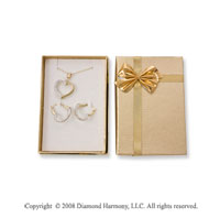 14k Two Tone Gold Heart Necklace and Earring Set