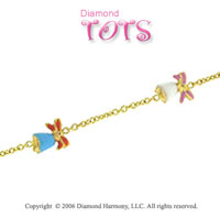 14k Gold Boy's and Girl's Bells Children's Bracelet