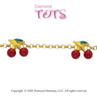 14k Yellow Gold Enamel Cherries Children's Bracelet