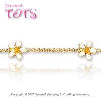 14k Yellow Gold Enamel Flowers Children's Bracelet