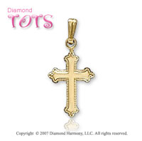 14k Yellow Gold Milgrain Vintage Style Children's Cross