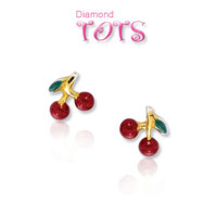14k Yellow Gold Dark Enamel Cherry Children's Earrings