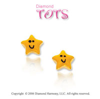 14k Yellow Gold Smiling Enamel Star Children's Earrings