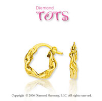14k Yellow Gold Twisting Ropes Children's Earrings