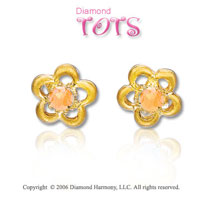 14k Yellow Gold Citrine Flower Children's Earrings