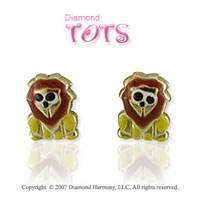 18k Yellow Gold Stylish Lion Button Children's Earrings